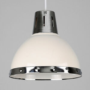 Contemporary gloss cream chrome retro kitchen ceiling pendant image is loading contemporary gloss cream chrome retro kitchen ceiling pendant aloadofball Gallery