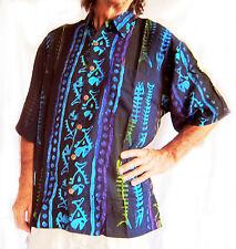 "Hand-painted Hawaiian shirt,black with painted fish-bones,M,50"" Indonesian Batik"