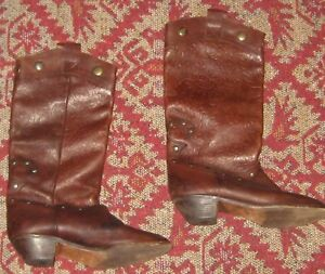 7abdbd36a6c1f Details about Vintage Pirate Boots Womens Tooled Leather 1980s Brass Stud  Italy Low Heel 38.5
