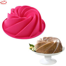 Large Spiral Bundt Cake Mold Cake Pan Bread Chocolate Bakeware Silicone Mould