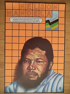 OSPAAAL 1986 Political Poster South Africa Nelson Mandela Anti Apartheid VG Cond