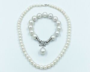 Freshwater-Pearl-Necklace-and-Bracelet-Set-925-Sterling-Sliver-Diamante-Clasp