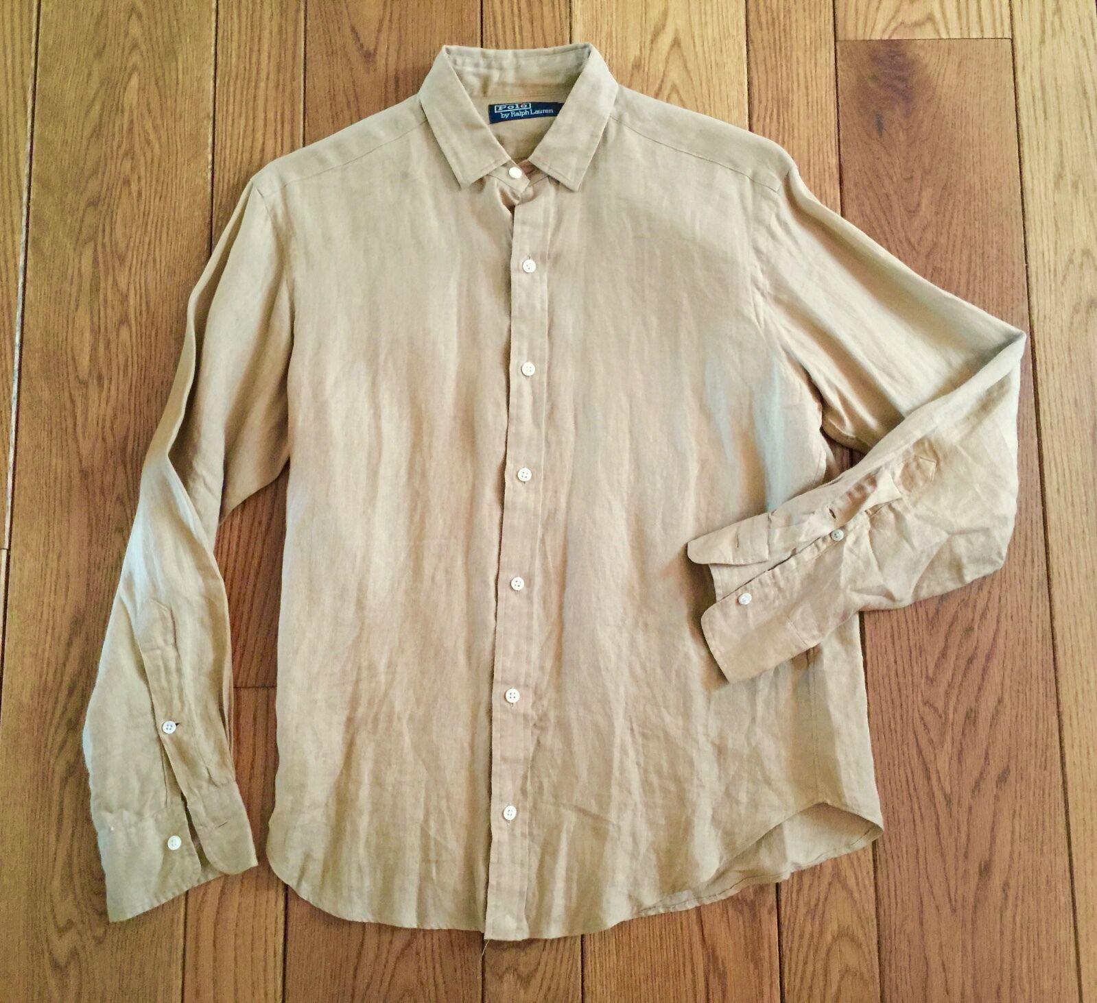 POLO RALPH LAUREN  Tan Linen Button Down Shirt Small 15