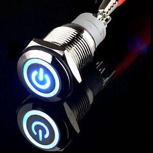 16mm 12V Blue Power/angel eye LED metal Latching metal Push button switch car