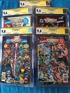 DC-versus-Marvel-1-2-3-4-set-CGC-SS-9-6-9-8-Signed-by-Jurgens-Marz