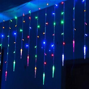 96LED Icicle Hanging Curtain String Lights Fairy Christmas Party Decor Outdoor