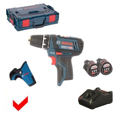 2x 2,0 ah baterías Bosch destornillador eléctrico GSR 12v-15 cargador L-Boxx