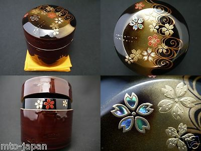 Japanese Lacquer Wooden Tea caddy SAKURAGAWA makie Fubuki-Natsume (414)