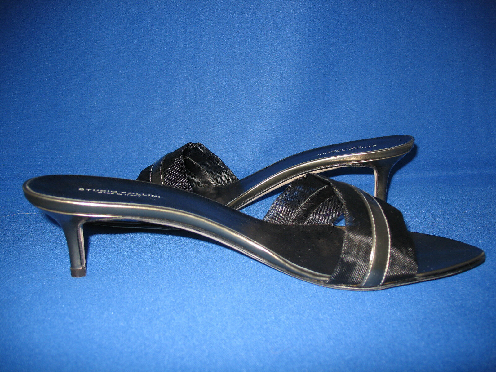New  290 STUDIO POLLINI Pewter Leather shoes Sandals 9