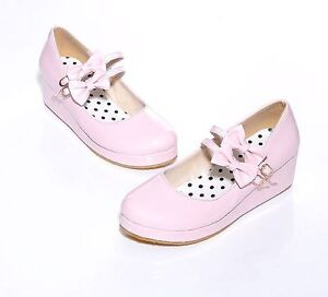 Womens-Sweet-Lolita-Bowknot-Wedge-Heel-Platform-Mary-Janes-Pumps-Court-Shoes-new