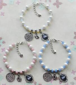 Personalised-BABY-SCAN-PHOTO-Gemstone-amp-Pearl-Charm-Bracelet-BEAUTIFUL-GIFT