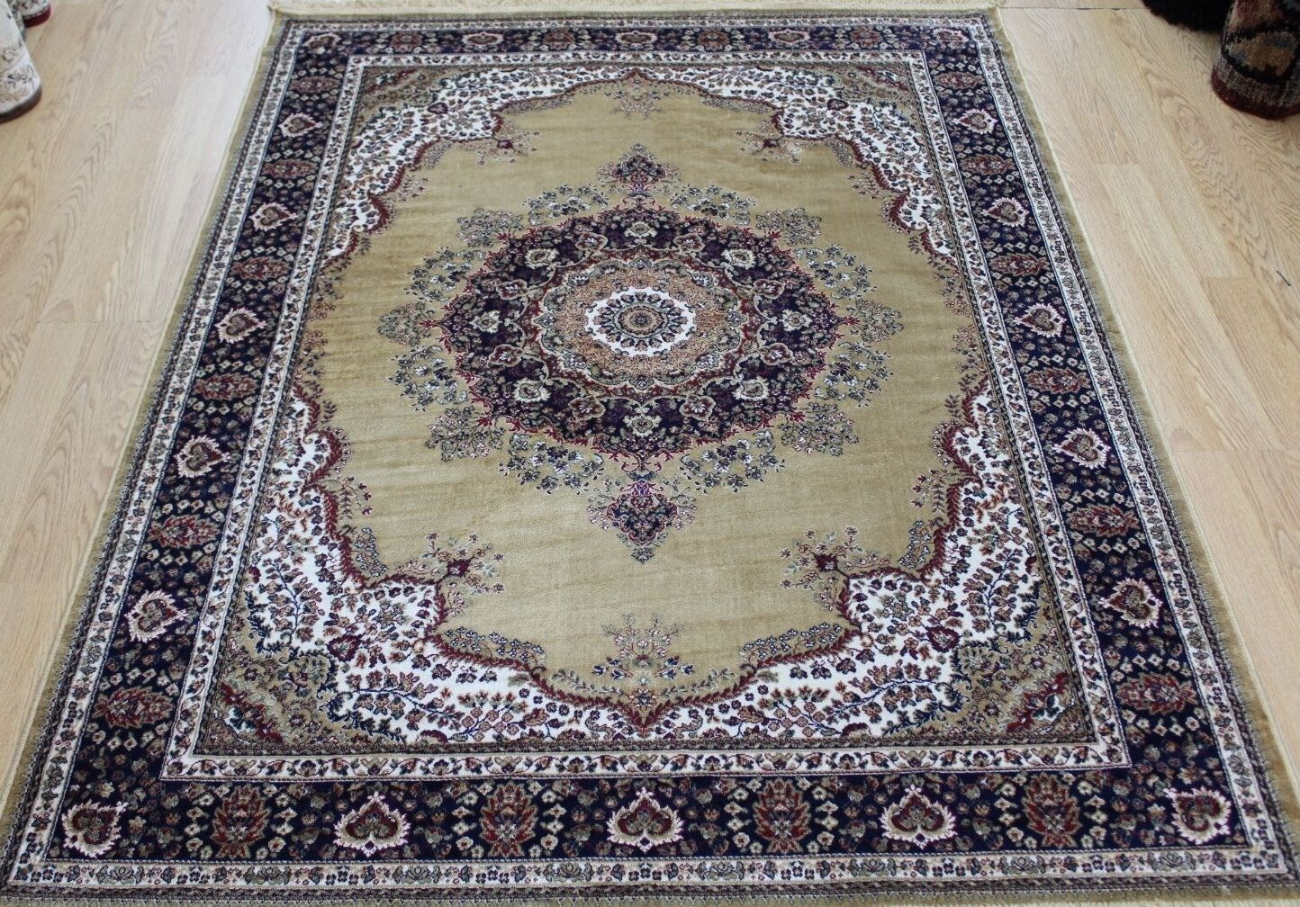 Gold Soie Bleu Traditionnel Persan Oriental Design Lavable Tapis