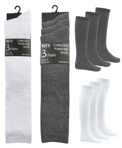 Older Girls Knee High Socks School Socks Grey White Black Cotton Rich 3 Pack