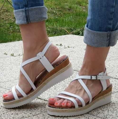 Porronet Sandale FI2590 Weiß Blanco Damen Echtleder Riemchensandale Neu