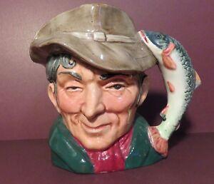 """Royal Doulton The Poacher Toby Character Jug. 4"""" COPR 1954 Trout Handle D6464"""