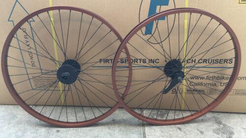 "Beach Cruiser bike 26/"" Rear /& Front Wheels Coaster Brake Brown w black spokes"