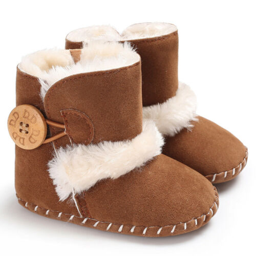 UK Infant Baby Toddler Warm Boots Kids Boys Girls Winter Snow Fur Shoes 0-18M CO