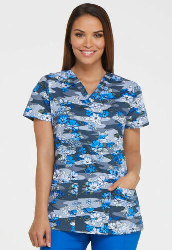 DK704 FREE SHIPPING! Dickies EDS Signature by Women/'s V-Neck Floral Print Top