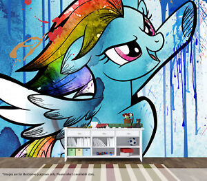 Details About My Little Pony Rainbow Dash Wall Mural Art Quality Pastable Wallpaper Decal