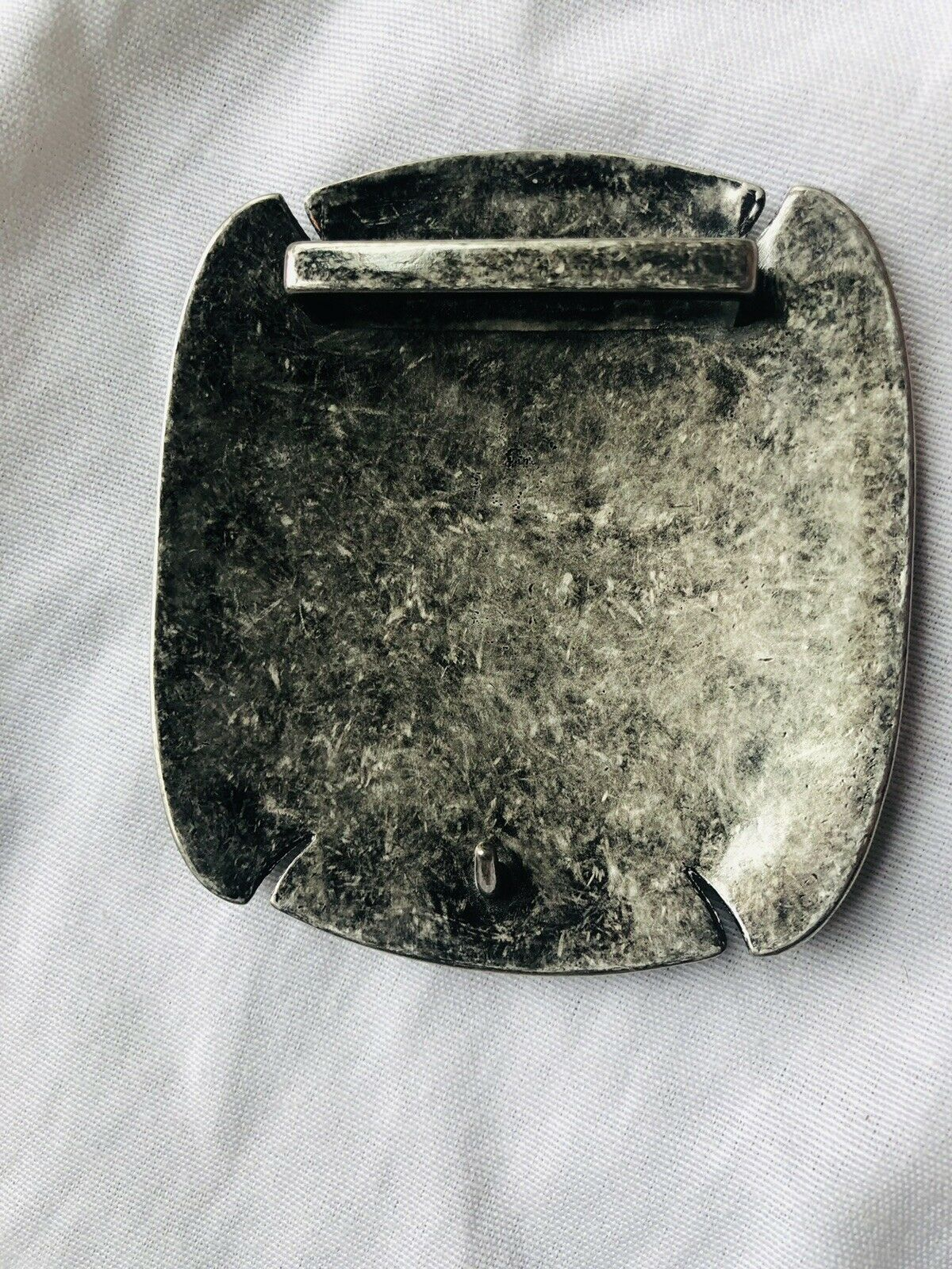 """Belt Buckle Silver Toned Hammered metal 4"""" x4"""" Fits Belts With 2"""" Width"""