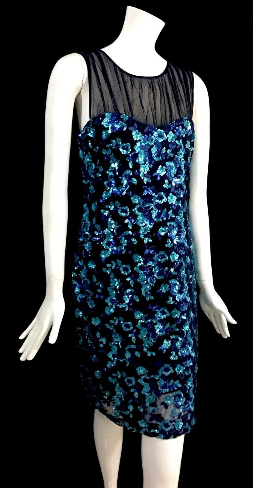 Belle Badgley Mischka Größe 8 Blau MultiFarbe Floral Sequined Sheath Dress Q1