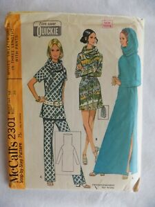 McCall-039-s-2301-Tunnel-Neck-Sweater-Dress-in-3-Lengths-Pants-Size-14-1970-Uncut