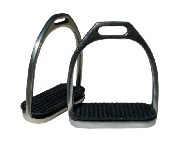 "TOP QUALITY 1 PAIR HORSE STIRRUP IRONS WITH BLACK TREADS (4.5"")"
