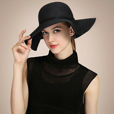 Vintage Women Lady Wide Brim  Wool Felt Bowler Fedora Beach Hat Floppy Cloche