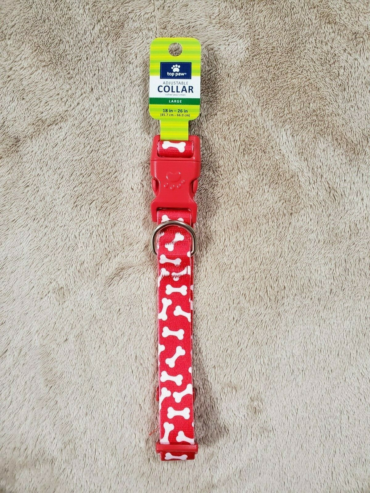Top Paw Adjustable Collar Large 18-26 in. Red and White