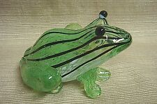 GREEN w/BLACK STRIPES GLASS FROG PAPERWEIGHT - Pretty & Perfect