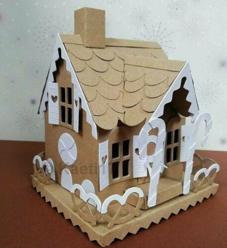 Tim Holtz Sizzix Village kraftcard Morada De Corte Kit de construcción de casa de pan de jengibre