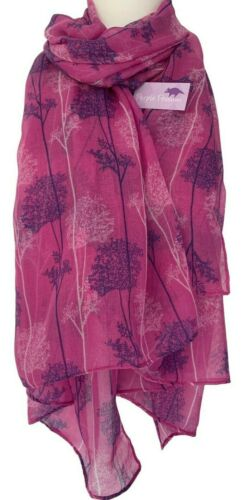 Pink Scarf Purple White Trees Wrap Ladies Large Tree Floral Shawl Pretty Wrap