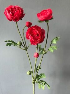Faux Silk Pink Red Ranunculus Spray Stem Of Realistic Artificial