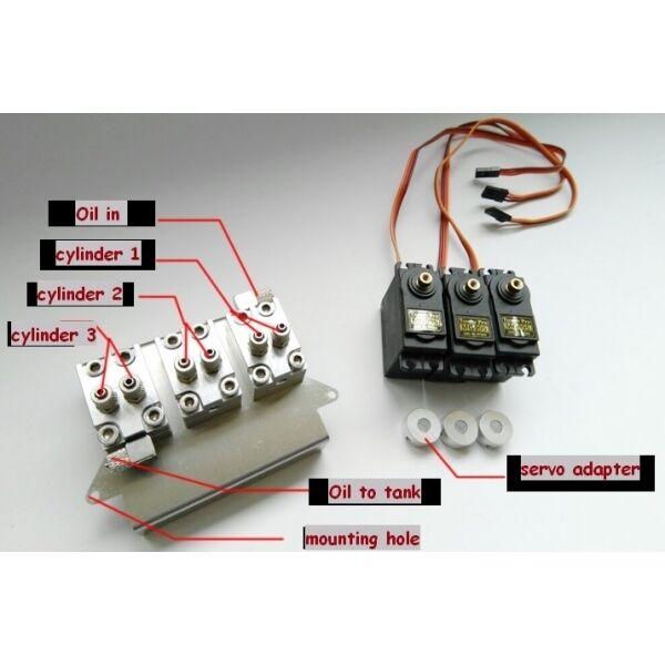 1 14 rc car 3 ways servo hydraulic control w servo Tamiya pump cylinder tipper