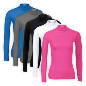 Womens Ladies Plain Solid Top Casual Stretch Turtle High Neck T-Shirt Basic Tee