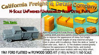 1961 Ford Flatbed Pickup W/plywood Sides N/1:160-cal Freight & Details Co