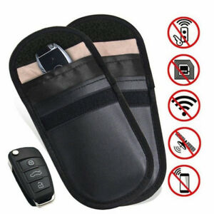 blue Universal Safe Phone Blocking Bag Faraday Cage Fob Pouch Car Key Signal Blocker Case