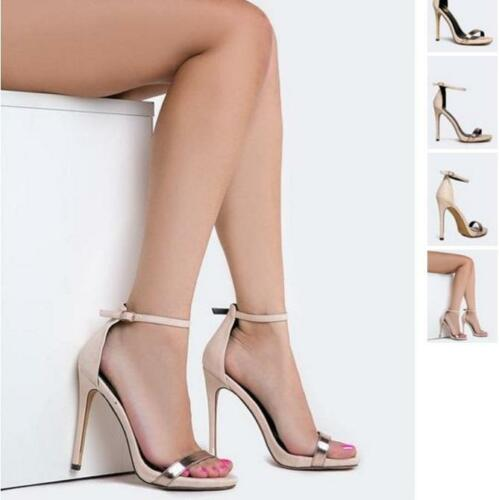 Nude Metallic Ankle Strap Buckle Closure Open Toe High Heel Stiletto Sandals