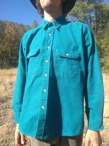Vtg-FIVE-BROTHER-USA-Teal-Green-Plaid-Heavy-Flannel-Shirt-Mens-XL-Southwest