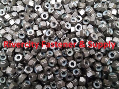 1//4-20 Coarse Thread Grade 8 Nylon Insert Hex Lock Stop Nut Plain 1//4 x 20 500