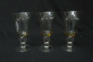 Lot-of-Three-7-034-Tall-Amber-Colored-Crystal-Water-Or-Wine-Goblets