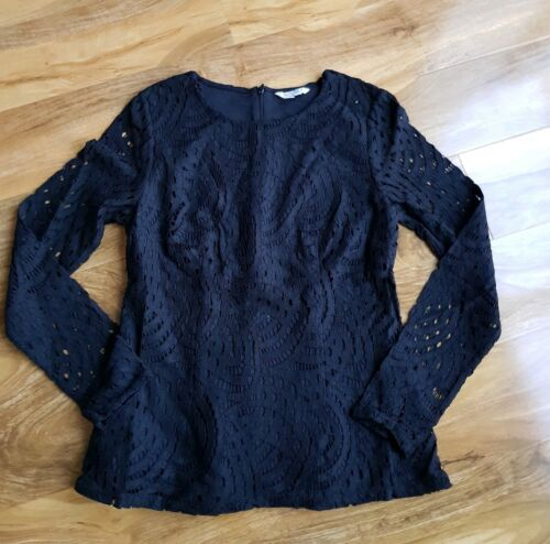 BODEN LADIES GORGEOUS ZETA BLACK GRAPHIC LACE PONTE BLOUSE UK 8 WO122 BRAND NEW.