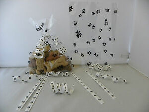 """100 BLACK DOG AND CAT PAW PRINT 5.1286""""x7"""" FLAT CELLO BAGS"""
