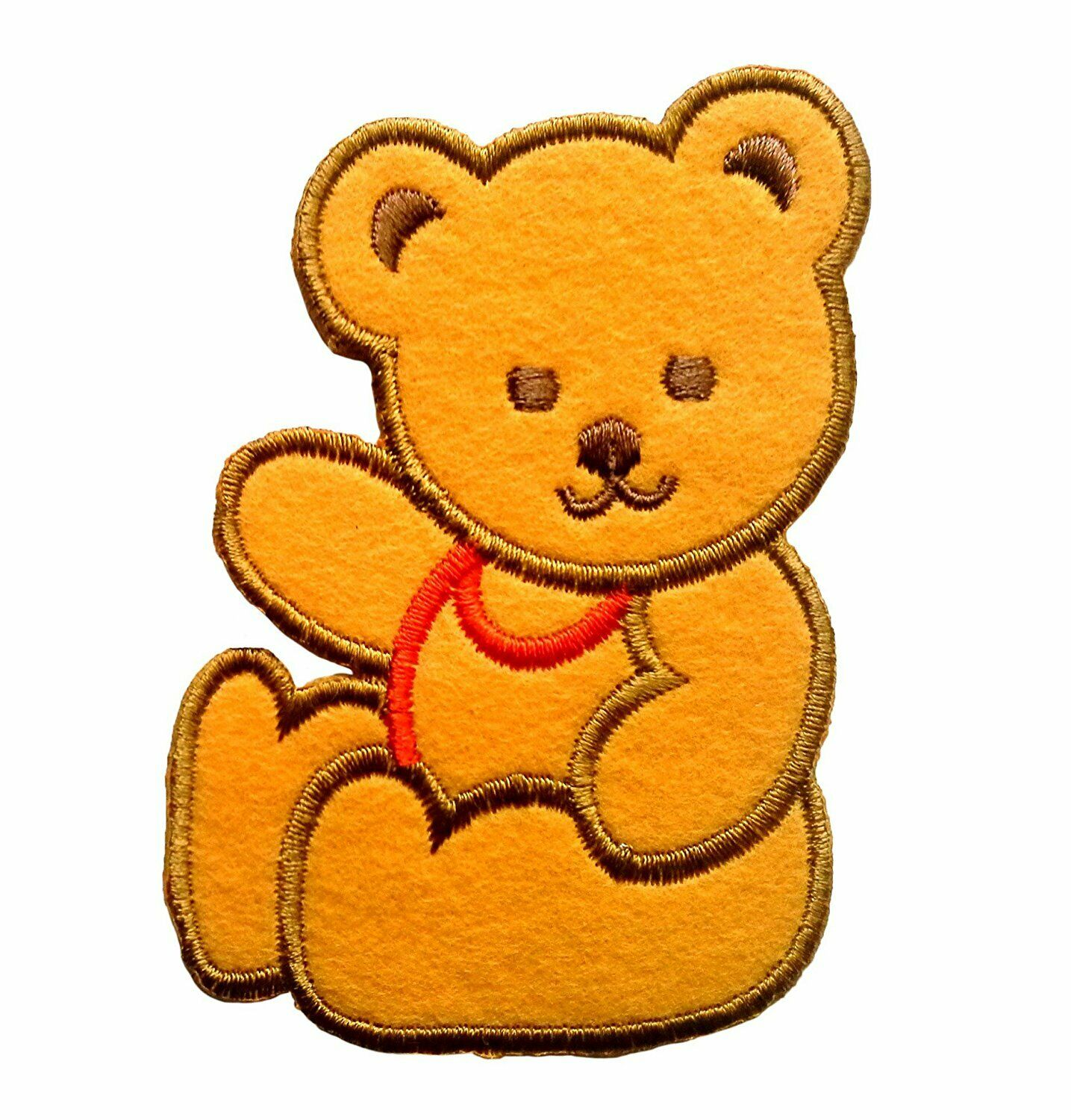 Bear Sits Animal Brown Patch Badge Iron Or Sew On 5.2cm x 4.6cm