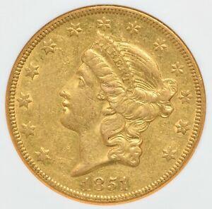 1851 O $20 Liberty Head Gold Double Eagle NGC AU-55