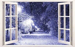 Winter Snow Scene Modern 3d Effect Window Canvas Picture Wall Art Prints Ebay