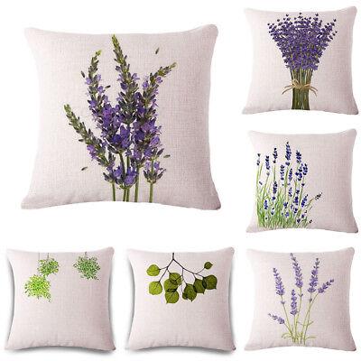 Fashion Lavender Throw Pillow Case Linen Cotton Cushion Cover Home Sofa Decor Ebay