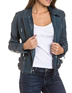 0750a02f88e2 Das Bild wird geladen BOGNER-Jeans-LYDIA -Damen-Lederjacke-Bikerjacke-Size-XS-