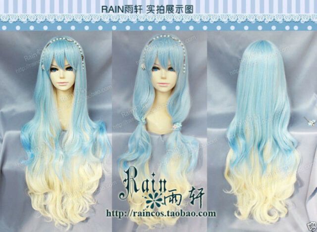 Cosplay Lolita Long Light Blue/Blonde Mixed Gradient Curly Wig + gift