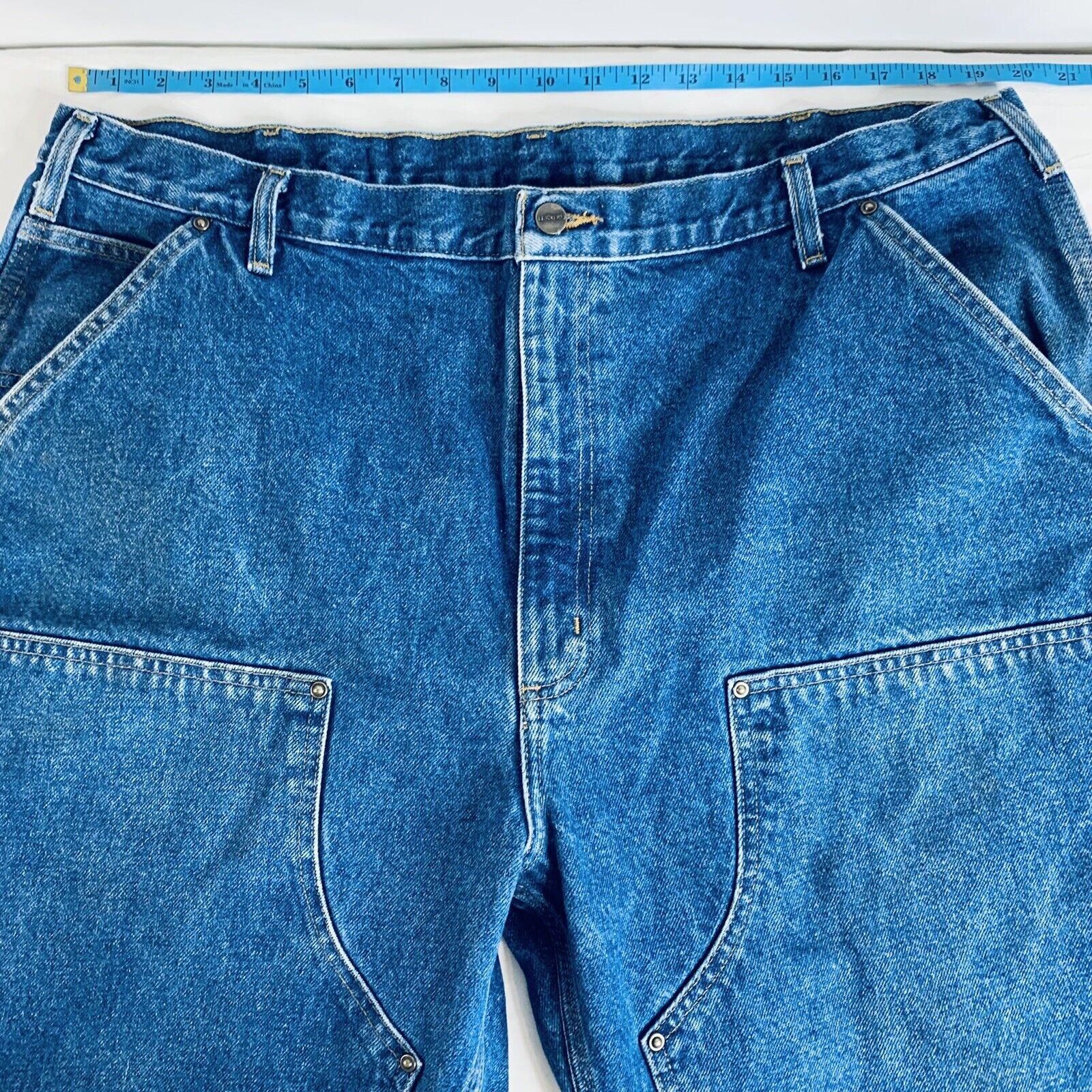 Carhartt Double Knee Jeans Size 42x32 Denim Blue … - image 1